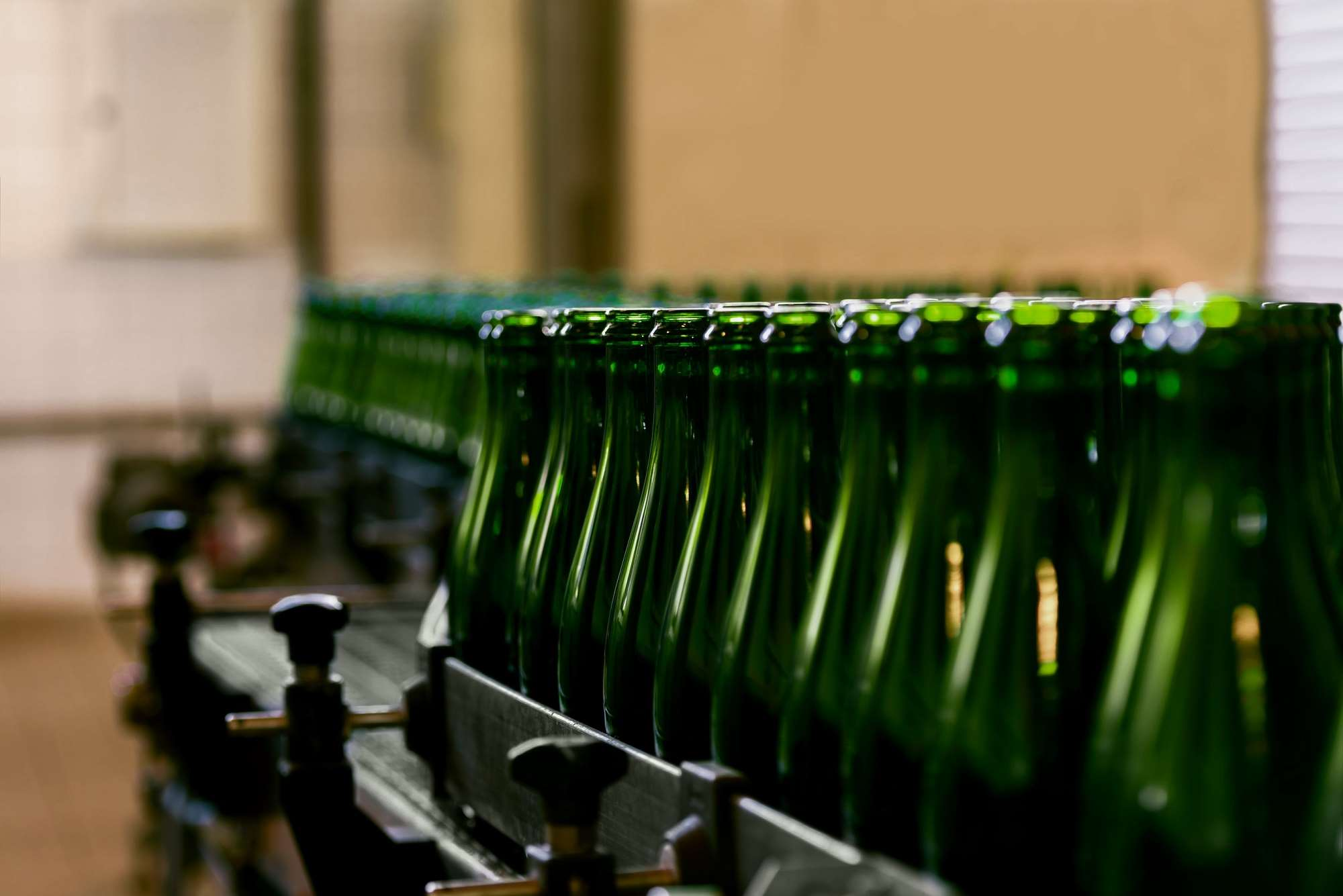 Bottles on automated line